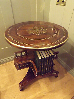 19Th Century Brass Inlaid Wine Table Revolving Book Stand