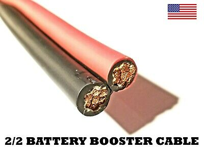 Battery Booster Jumper Cable Twin Wires Flexible Pure Copper 2 Gauge AWG Size