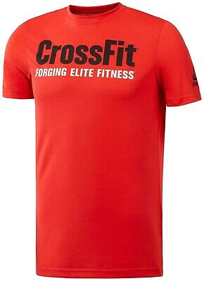 Mens New Reebok CrossFit Logo T-Shirt Training Top - Red - Gym Running Fitness