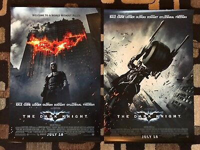 The Dark Knight Original Movie Poster 27X40 Double Sided Lot Of 2 US Styles 2008