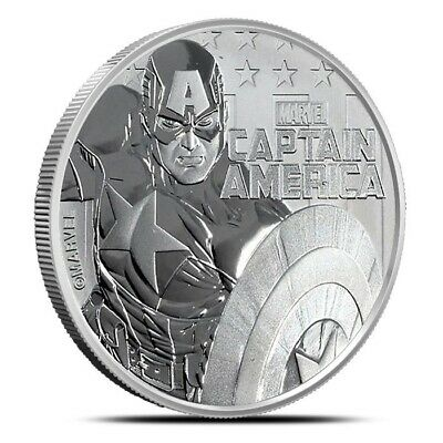 2019 Tuvalu Captain America 1 oz .9999 Fine Silver Marvel Series $1 Coin