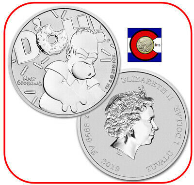 2019 Tuvalu Homer Simpson D'OH! 1 oz silver coin in Mint capsule