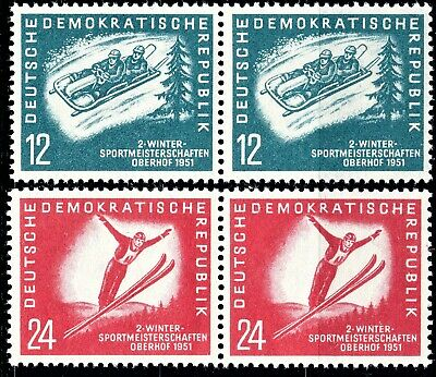 Germany - Ddr 1951 Winter Sports - Full Set Of Joined Pairs - Mint Nh**  👇