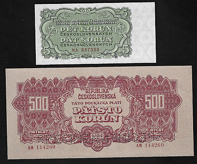 Czechoslovakia(2)Bank Notes 5 K0Run 1953 P46 Unc ,500 Korun 1944 P49S Almost Unc