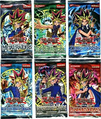 Yugioh Lot Of 6 Booster Paquets Legend Of Blue-Eyes+Métal Raiders+Invasion Chao