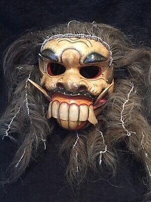 Vintage Tribal Hand Carved Wooden Balinese Demon Mask Hinged Jaw & With Hair
