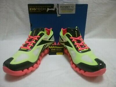 884c5b852af679 Reebok ZIG TECH PULSE 2 Yellow Black Cherry White Vintage Sneakers US 9 Y110