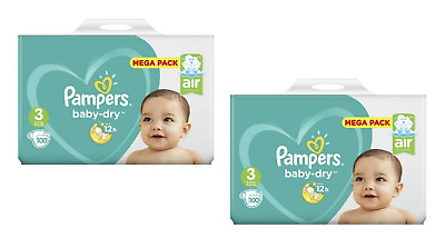 Lot 200 Couches PAMPERS BABY-DRY Taille 3 de 6 à 10kg Mega Pack