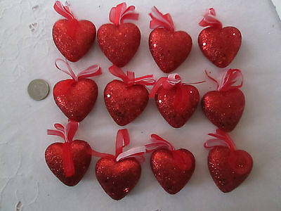 """12- Red Glitter Heart Valentines Day Ornaments, approx.  2"""" NEW"""