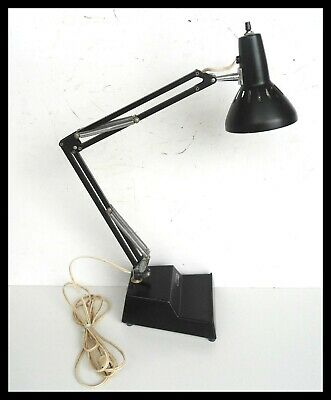VTG Mid Century Modern SWEDEN Ledu Mini Swing Arm Black Desk Lamp Weighted Base