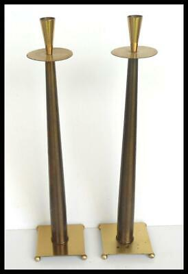 Tall - Vintage Mid Century Modern Metal Danish Style Candle Holders Candlesticks
