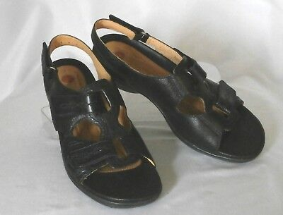08d84d2adf389 CLARKS Unstructured Size 9 M Black Leather Open-Toe Adjustable Strappy  Sandals