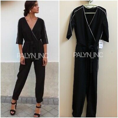 Rare_Nwt Zara Aw18 Crossed Jumpsuit With Contrasting Piping_Xs S M L Xl