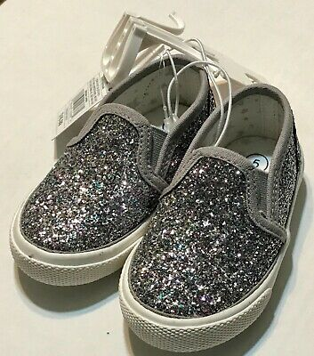 81afb5a9443a5 NWT Toddler Girls  Madigan Slip on Glitter Sneakers- Cat   Jack Silver ...
