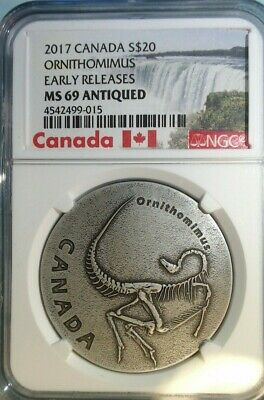 2017 Canada Ancient Canada Ornithomimus 1oz Antiqued Silver NGC MS69 ER