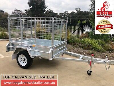 6x4 Galvanised Trailer Fully Welded with 900mm Cage ATM 750kg Heavy Duty New Tyr