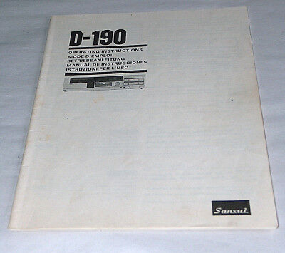 Sansui D-190 Metal Tape Capable Cassette Deck Operating Instructions Manual OEM