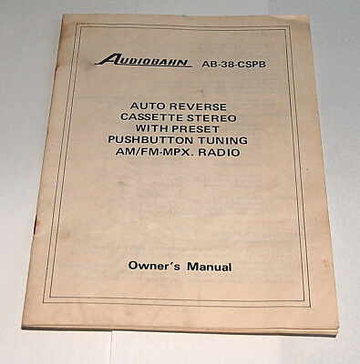 VTG Audiobahn AB-38-CSPB Auto Reverse Cassette Stereo AM/FM Radio Owners Manual