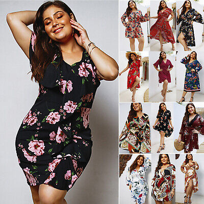 Plus Size Women Boho Floral V Neck Casual Summer Beach Holiday Party Mini Dress
