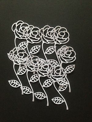 10 White Rose diecuts - Great for scrapbooking/cardmaking