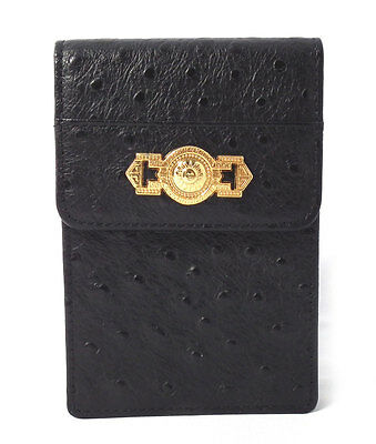 cfed84a69194 GIANNI VERSACE OSTRICH leather vintage black small bag purse case ...