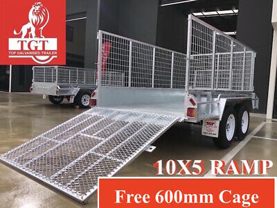10x5 TRAILER TANDEM GALVANISED RAMP HEAVY DUTY 600mm CAGE 2000 KG ATM FULLY WEL