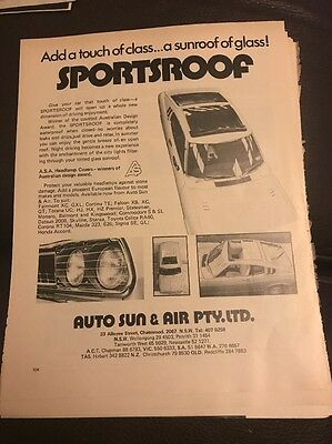 Original 1970s Sportsproof Sunroof Auto Sun Chatswood Vintage Print advertising