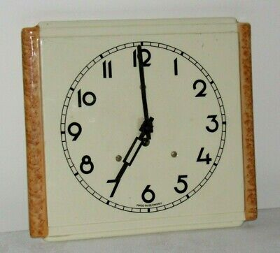 Very Stylish 1930'/40's German China Wall Clock. Art Deco Numbers/Hands