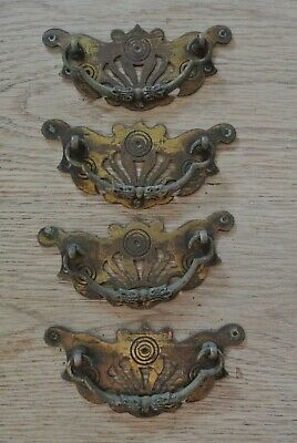 4 large  Aesthetic movement c1888 brass handles 5.25 inch x 2.5 inch