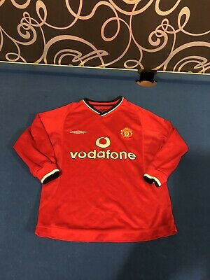 MANCHESTER UNITED FC Home Shirt 2000-2002 Boys 6-7 Years Long Sleeve