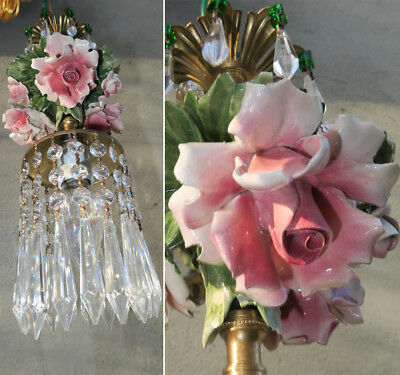Porcelain ROSE pink Chandelier SWAG lamp Capodimonte Brass Vintage emerald beads