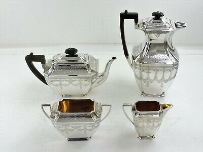 Pretty ENGRAVED SILVER TEA & COFFEE SERVICE Sheffield 1896 Atkin Brothers teaset