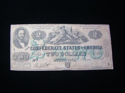 1862 Confederate States Of America $2.00 Banknote Signed Fine T43 Nice!!