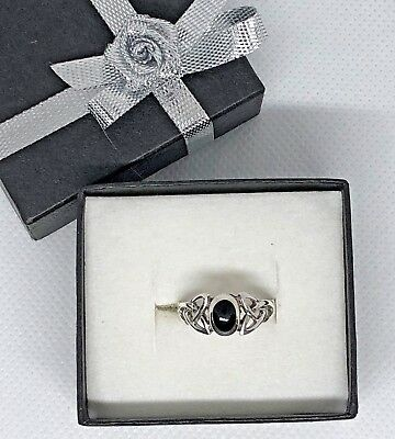 Celtic Ring Trinity Knot Silver 925 Hallmark Black Stone Traditional Mothers Day