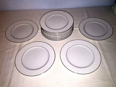 "12 Carlton ""Plymouth"" 303 ~ 7 5/8"" Salad Plates w/Silver Trim ~ Excellent"