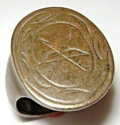 "Ancient Rare Post Medieval bronze ""Hunter's ring""  with Bow and Arrows. 12.5gr."