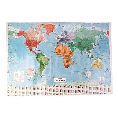 Waterproof World Map Big Large Map Of The World Poster With Country Flags New