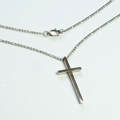 Titanium Steel simple cross silver tone & 2.5mm Stainless Figaro necklace chain
