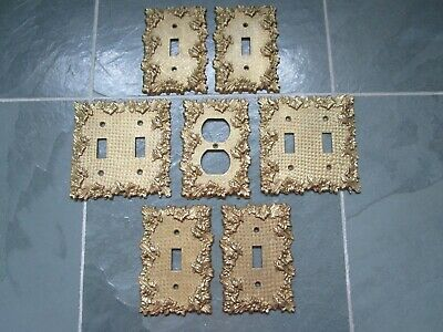 VINTAGE Antique BRASS Ornate Single + Double Light Switch Plates + Outlet Cover