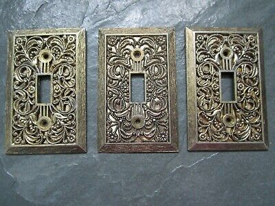 CHARM N STYLE Antique BRASS Ornate 3 Single Light Switch Plate Covers VINTAGE