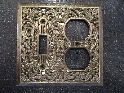 VINTAGE Gold Very Ornate Single Switch Duplex Outlet Plate Cover