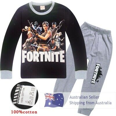 Fortnite boys long sleeve pjs sweat shirt pant outfit set pjyamas cosplay sz6-12