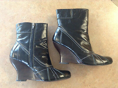 8a889180a05 Kenzie Anthropologie Black Tulip Ankle Wedge Boots--Excellent Condition!  Size 9
