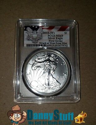 2018-(W) American Silver Eagle PCGS MS69  First Strike Red Flag Label Free S/H