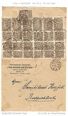 German Reich 1923 Koln Inflation Franked Cover To Ruppichteroth 75000M Last Day