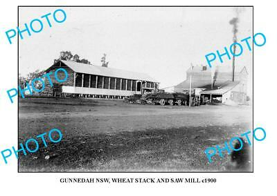 OLD LARGE PHOTO OF GUNNEDAH NSW WHEAT STACK & SAW MILL c1900