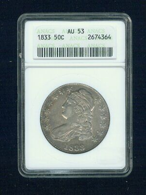 1833-P Capped Bust Silver Half Dollar 50C ANACS AU 53 Type 1, Lettered Edge