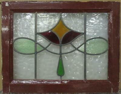 "OLD ENGLISH LEADED STAINED GLASS WINDOW Gorgeous Abstract Sweep Design 22"" x 17"""