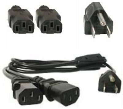 Lot10 6ft AC Power Splitter/Y/DUAL IEC320 C13 PC/Printer/TV/PDU Cord/Cable/Wire