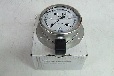 WIKA GAUGE 250KPA 68001028 213.53.100 R 3/8 ISO7 Lower Mount Flange Stainless St